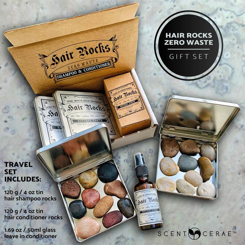 Hair Rocks Gift Set~Zero Waste Solid Shampoo and Conditioner Rocks~Plastic free~Sustainable~All Natural~Wash hair with Natural Earth rocks